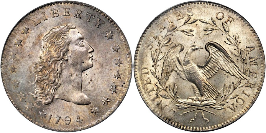 Lord St Oswald-Norweb 1794 Flowing Hair Dollar PCGS MS64 CAC
